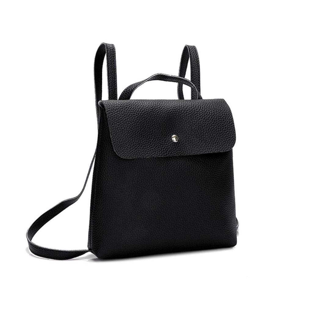 Clearance Sales!! ZOMUSAR Women Girl Pure Color School Bag Travel Cute PU Leather Mini Backpack Women Girl Pure Color School Bag Travel Cute PU Leather Mini Backpack (Black) by ZOMUSAR (Image #3)