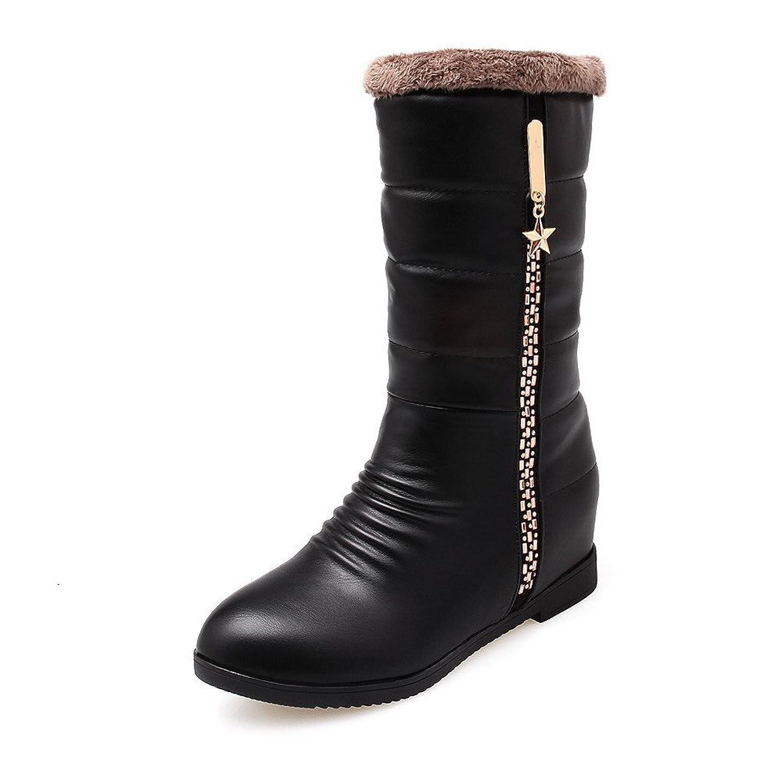 AllhqFashion Women's Kitten-Heels Soft Material Low-Top Solid Zipper Boots