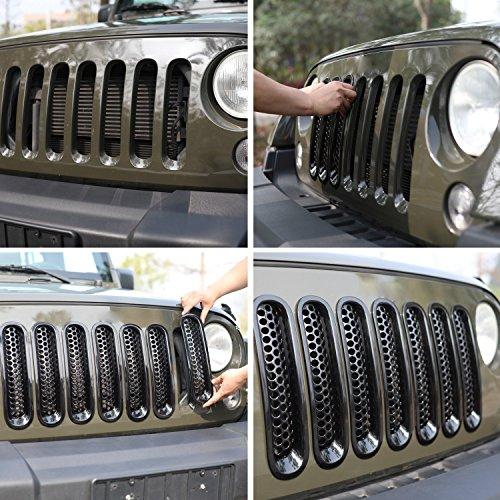 Matte Black Mesh Grill Mesh Grill Insert for Jeep Wrangler JK JKU Unlimited Rubicon Sahara X Off Road Sport Exterior Accessories Parts 2007-2015(7 pcs in 1 package)