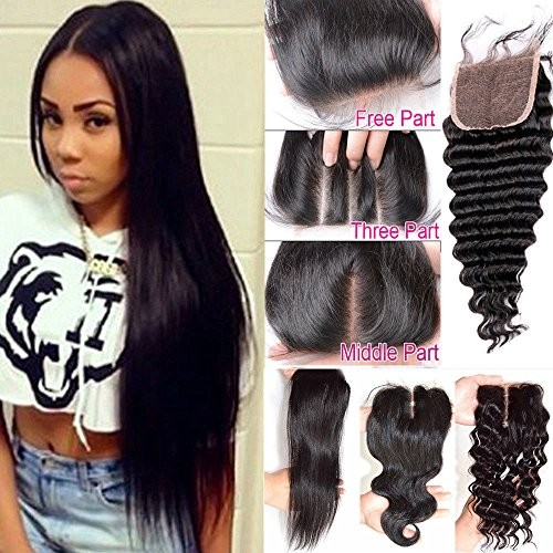 Topwigy Brazilian Virgin Human Hair Lace Closure Straight Bleached Knots Straight Free Part Lace Hair Closure Piece (4