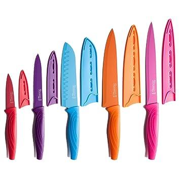 Michelangelo 10 piezas Rainbow Cocina Juego de cuchillos - 5 ...