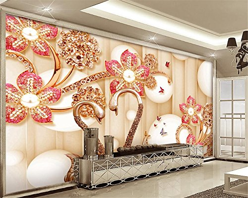 Custom 3D Wallpaper Jewelery Diamond Swan House Living Room Background Wallpaper Decorative Painting Papel de Parede