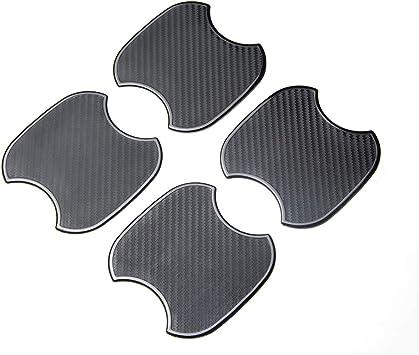 ZaCoo 4PCs 3D Carbon Fiber Car Door Handle Paint Scratch Protection Protector Protective Guard Auto Door Guard Protective Film Black