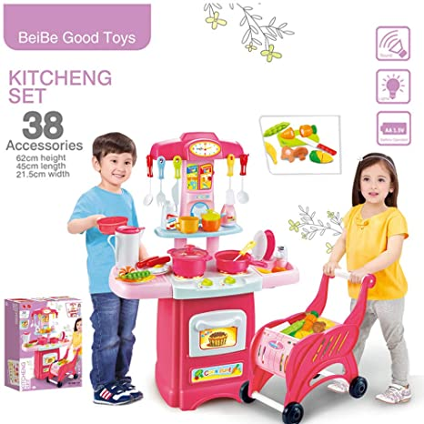 Amazon Com Blueseao Shopping Cart With Kitchen Set Toy Children S