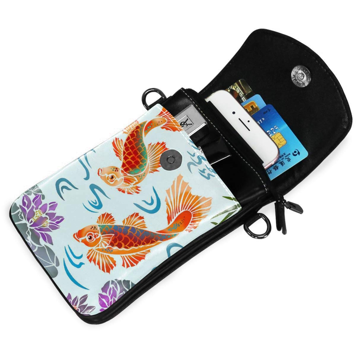 Small Cell Phone Purse Koifish Goldfish Crossbody Bags With Shoulder Strap Coin Purse Wallet For Women,Girls