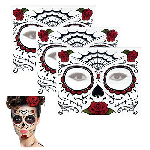 Sugar Skull Temporary Tattoo Rose Design (3 Tattoo -