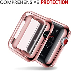 Smiling Case for Apple Watch Series 4 40mm with Built in TPU Clear Screen Protector - All Around Protective Case High Definition Clear Ultra-Thin Cover for Apple iwatch 40mm Series 4 (Rose)