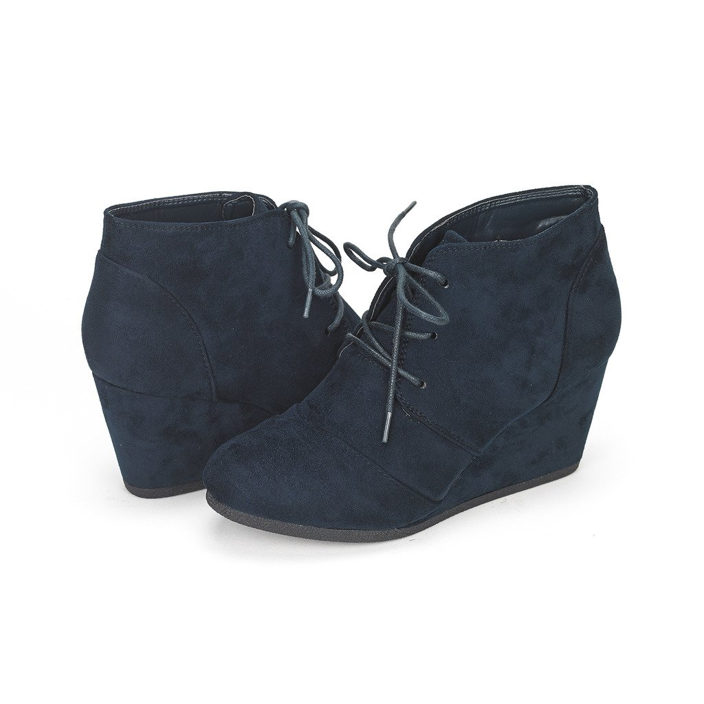 DREAM PAIRS TOMSON Women's Casual Fashion Outdoor Lace Up Low Wedge Heel Booties Shoes   NAVY 10 B(M) US