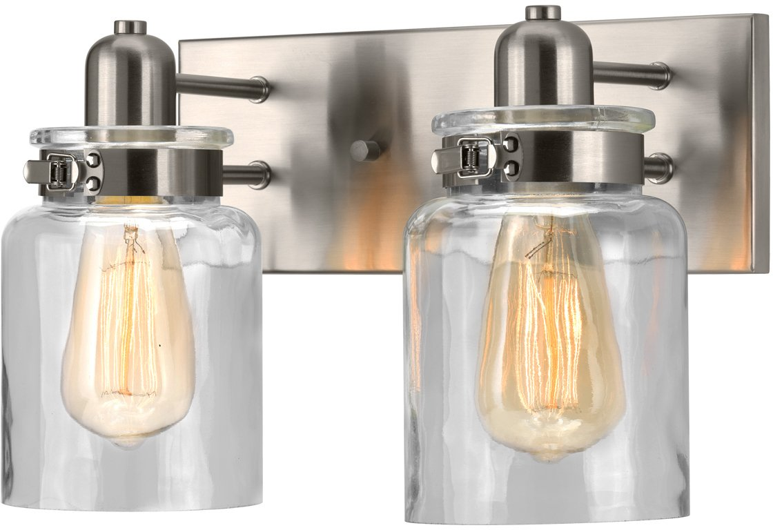 Luxury Modern Farmhouse Bathroom Vanity Light, Medium Size: 8.625'' H x 13.25'' W, with Industrial Style Elements, Brushed Nickel Finish, UHP2140 from The Bridgeport Collection by Urban Ambiance