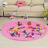 Toys Storage Bag Organizer, BQeel 60.3'' Diameter Waterproof Nylon Kid's Floor Activity Play Mat Toys Quick Pouch with Drawstring - Pink