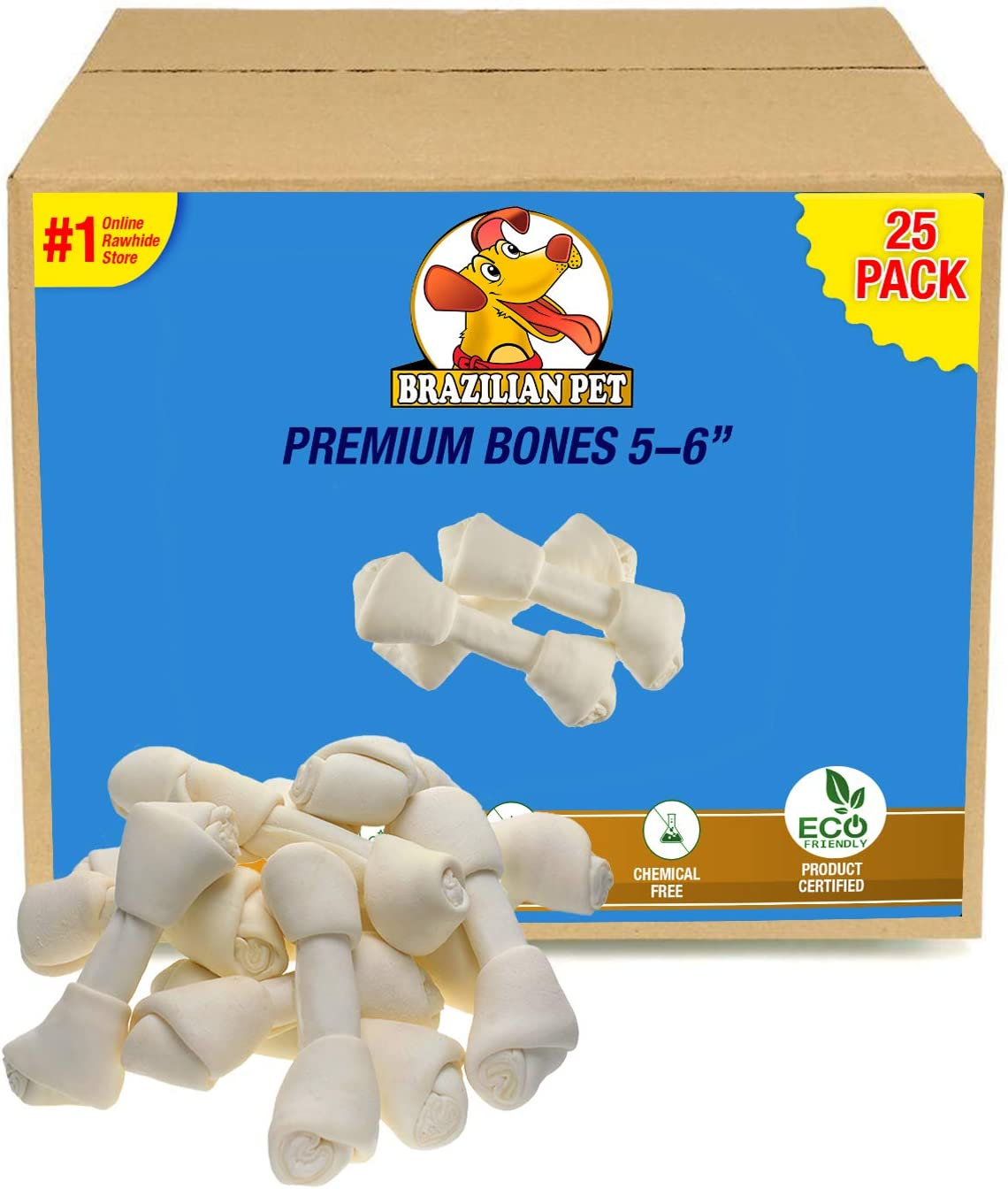 Brazilian Pet Rawhide Bones 5-6 Inches, Premium Quality Dog Bones, 100 Natural, Beef Hides Chews