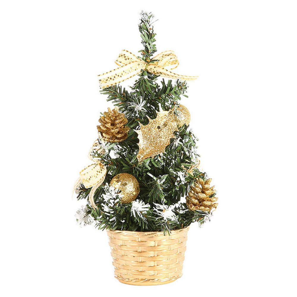 Allywit Artificial Tabletop Mini Christmas Tree Decorations Festival Miniature Tree 20cm (Gold)