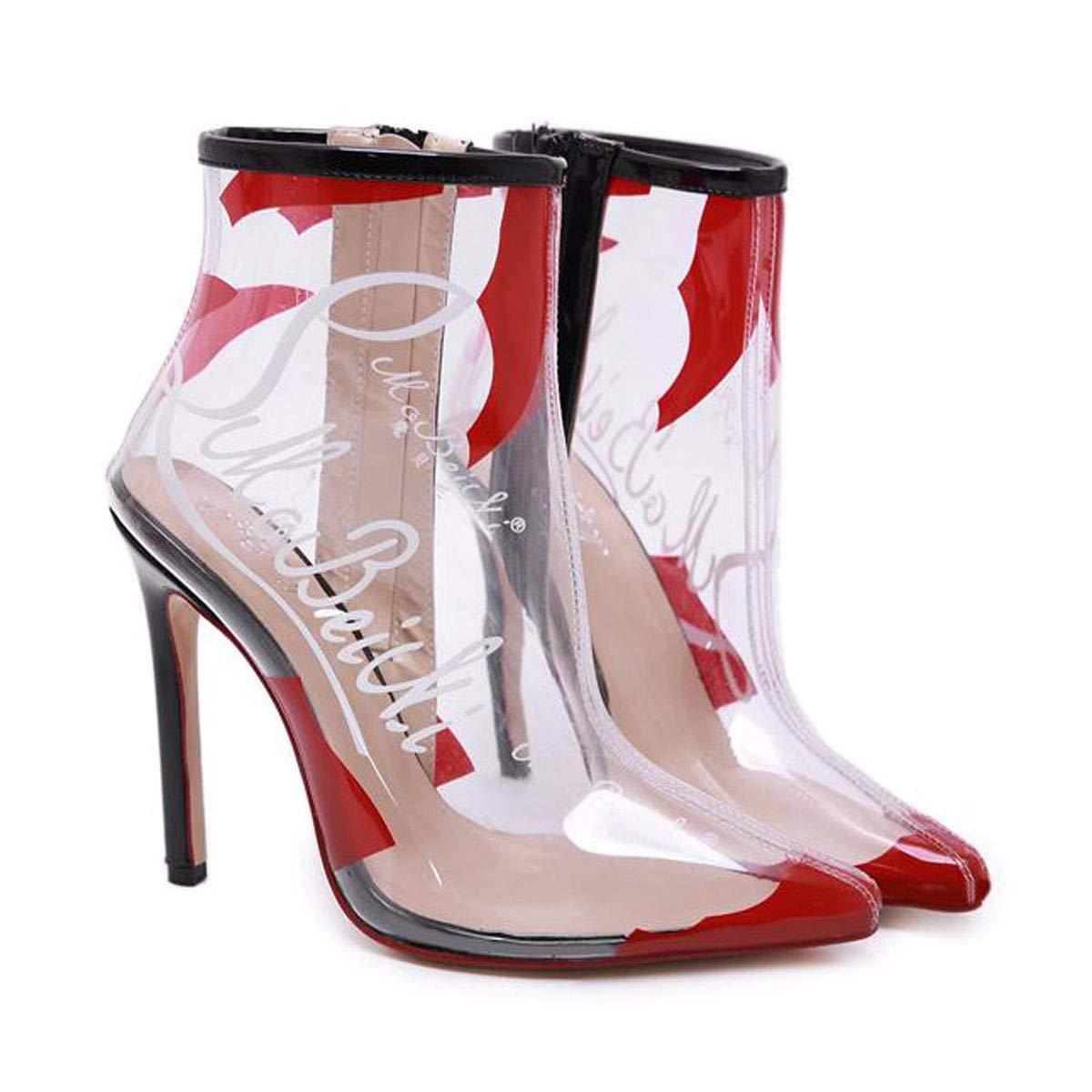 HBDLH Damenschuhe Sexy Persönlichkeit Mit Hoher 12Cm Transparenten Kunststoff Öl - Färbung High - Heel Dünn Und Hat Kurze Stiefel.