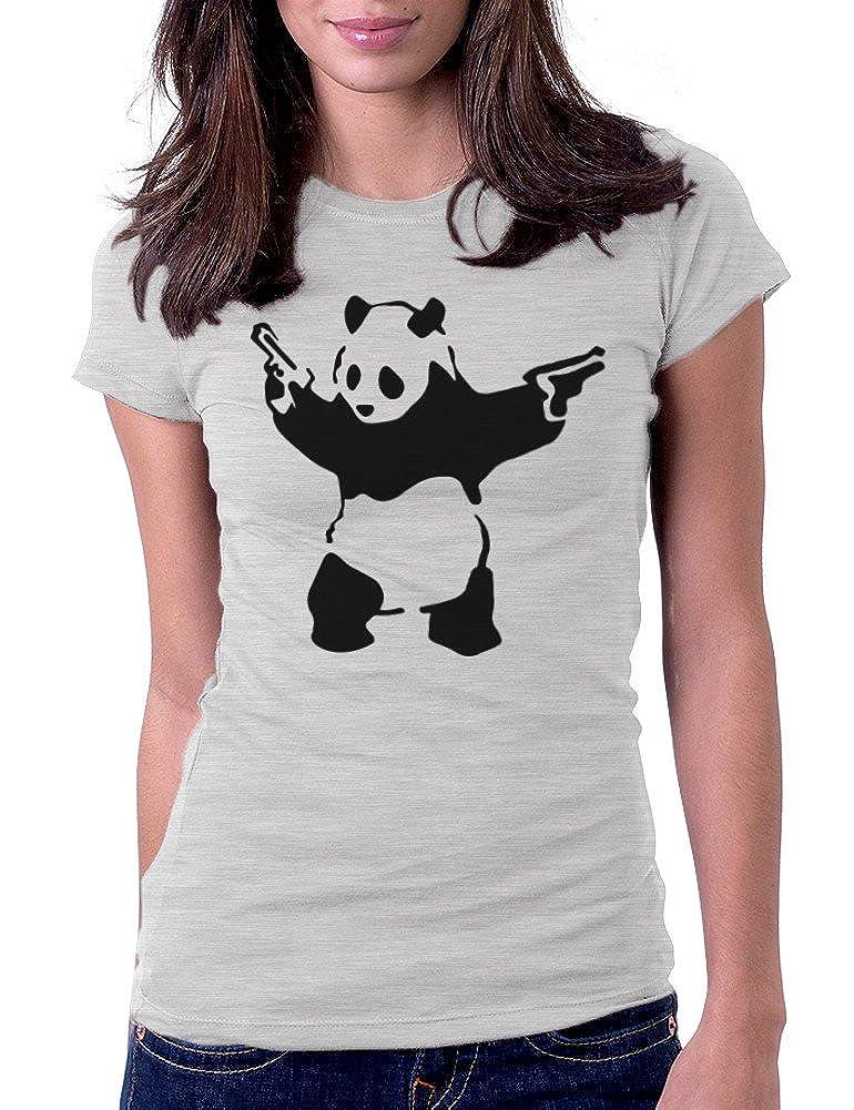 3b59b5304 Amazon.com: Women's Banksy Panda with Guns Tee T-Shirt: Clothing
