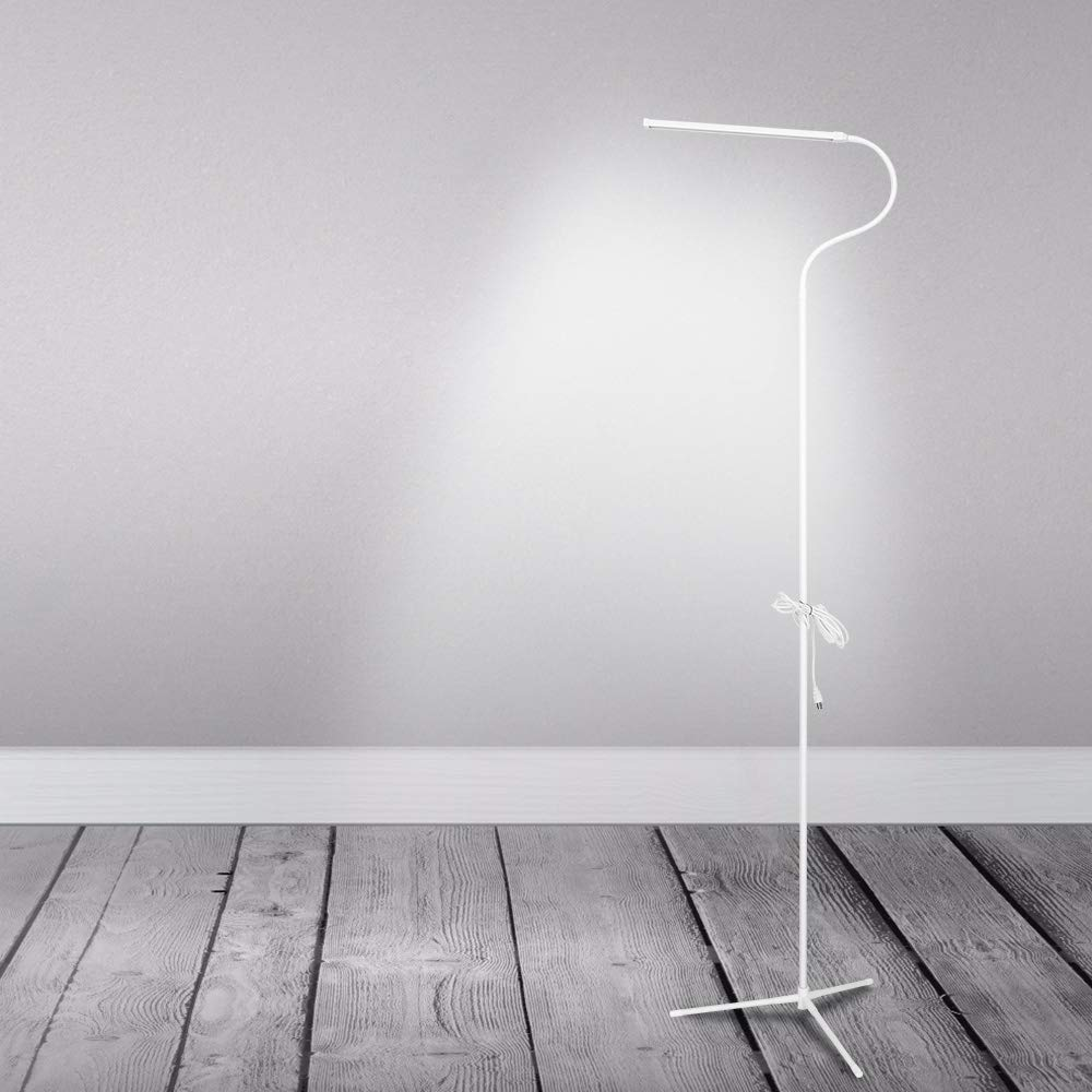 LED Floor Lamp Standing Reading Lamp, Dimmable Gooseneck Clip-on Lamp (4 Color Modes, 8W, Floor Light for Living Room, Bedroom, Office) White