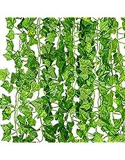 KASZOO Artificiell murgröna girlang falska växter, klätterväxt hängande girlang, hängande för hem kök trädgård kontor bröllop väggdekor