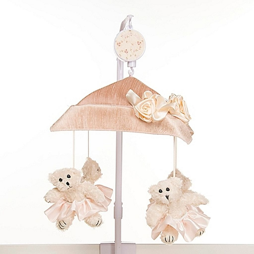 Ribbons & Roses Musical Mobile in Pink, Charming Musical Mobile Attaches To Crib Rails, Features Beautiful Ribbons And Roses, And Plays ''Brahms' Lullaby.''