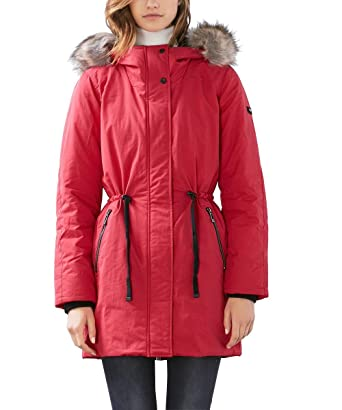 7963ed55b387 edc by ESPRIT Damen Mantel 106CC1G002, Rot (red 630), 34 (Herstellergröße