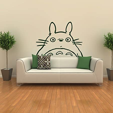 Totoro Inspired Totoro Head Vinyl Wall Decal Totoro Wall Sticker Wall Mural  Nursery Room Art Decor