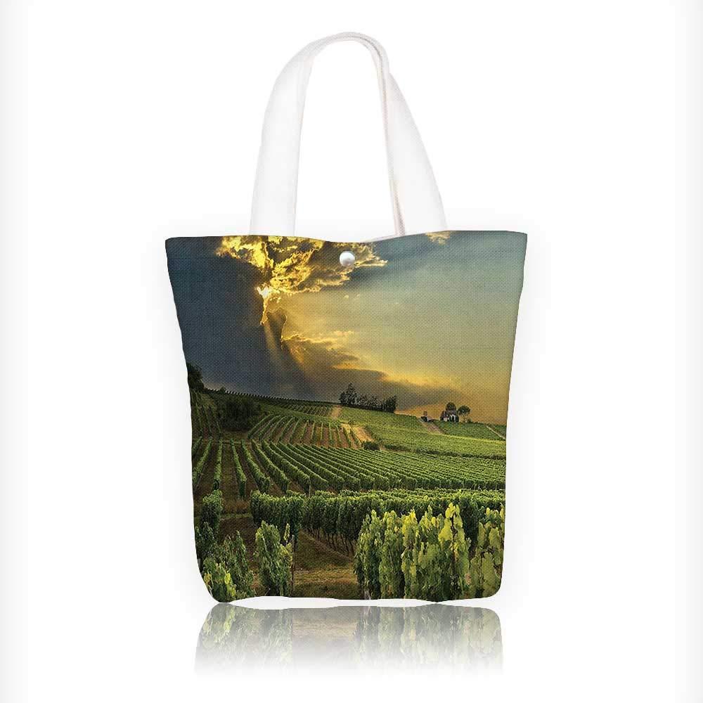 Bolsa de lona para botella de vino y ramo de uvas sobre ...