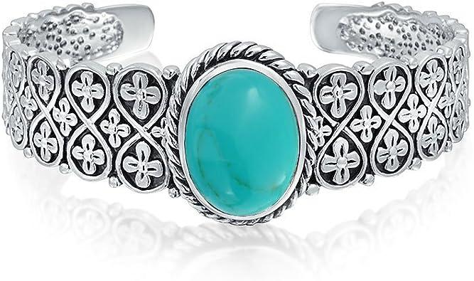 Turquoise Jewelry Cuff Tibetan Filigree Genuine 925 Sterling Silver Bracelets