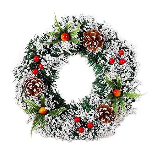 Fine Christmas Wreath for Front Door, Xmas Wreath with Red Bow, Ball Berries Pine Core Artificial Christmas Door Wreath Indoor Outdoor Party Decor (B) (Indoor Doors)