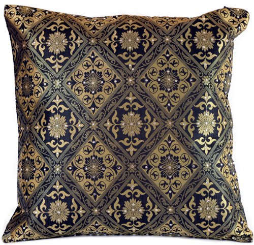 Banarsi Designs Hand Embroidered Brocade Pillow Cover, Set of 2 (Black and Gold)