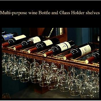 WGX Wine Bar Wall Rack 60,Hanging Bar Glass Rack&Hanging Bottle Holder Adjustable (Black)