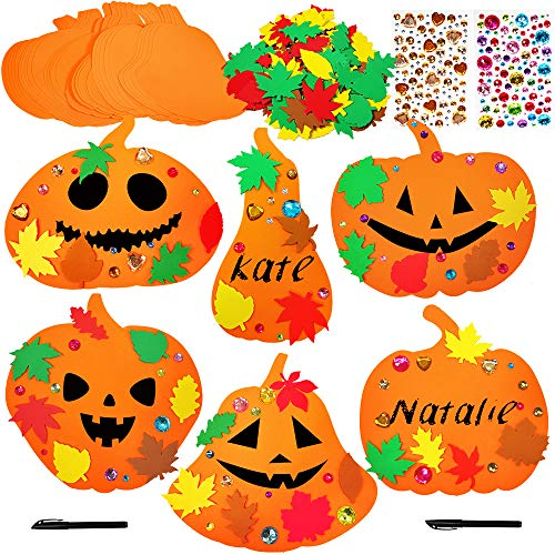 Cheap Halloween Crafts Adults (Supla 30 Kits Foam Halloween Pumpkin Decorations DIY Pumpkin Craft Kits Assorted Foam Pumpkin Shapes with Fall Maple Leaves Rhinestone Stickers for Kids Crafts Fall Thanksgiving Halloween)