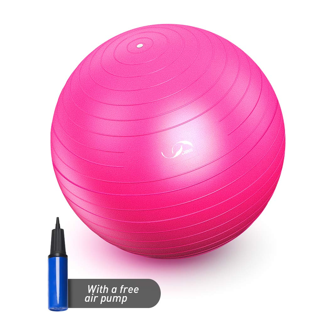 JBM Exercise Yoga Ball with Free Air Pump (4 Sizes 5 Colors) 400 lbs Anti-Burst Slip-Resistant Yoga Balance Stability Swiss Ball for Fitness Exercise Training Core Strength (Pink, 80cm-85cm)