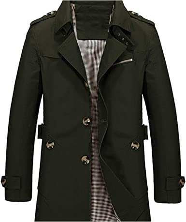 Fllaees Men's Jacket Slim Fit Spring Autumn Casual Trench Coat Mens Fashion Coats  Male Outerwear 5XL SA623, Army Green, M at Amazon Men's Clothing store
