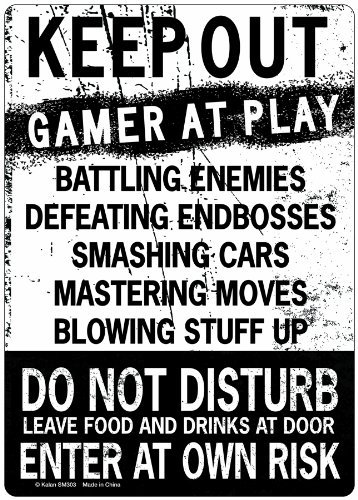 New Keep Out Gamer At Play Enter At Own Risk Funny Novelty Tin ()