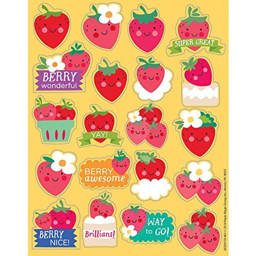 160 STRAWBERRY Fruit Scented Stickers - 8 Sheets of 20 -Motivational Rewards EDUCATION Classroom Party Favors Teacher