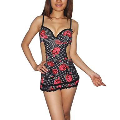 5b4be783d11cd2 Womens XOXO Lingerie  Sexy Cut-Out Underwired Bra Lace Apron Babydoll  Chemise Intimate Apparel (Size  M 12-14)  Amazon.co.uk  Clothing