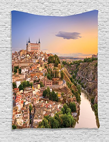 Ambesonne Wanderlust Decor Collection, Toledo Spain Old City over the Tagus River Downtown Castle Architectural Ancient Picture, Bedroom Living Room Dorm Wall Hanging Tapestry, Ivory by Ambesonne