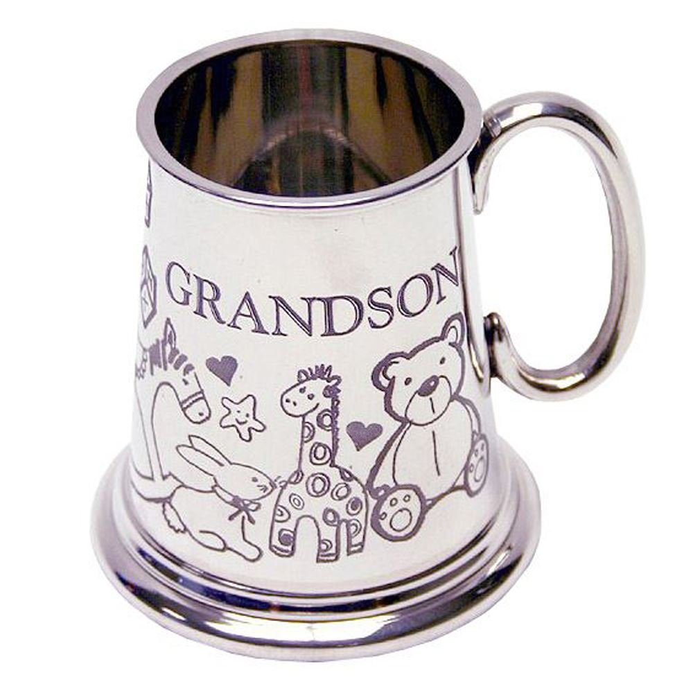Personalised Engraved British Pewter Tankard Teddy Bear Christening Baby Gift