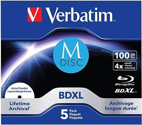 Verbatim 43834 M DISC BDXL - Disco blu-ray 100GB, [Pack de 5 ...