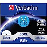 Verbatim M-Disc rullgångjärn för data, 4 gånger bränningshastighet Juvelväska 5 St. 100 GB Transparent/vit
