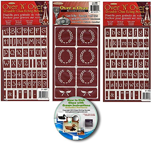Upper Case & Lower Case Letter Stencils with Crests (3) Pack , Over N Over Reusable + How to Etch CD by Armour Etch