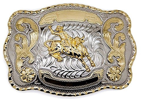 Big Belt Buckle Western Bull Rider Rodeo Cowboy Texas Two Tone Silver and Gold Rodeo (Pewter Belt Buckle Confederate Flag)