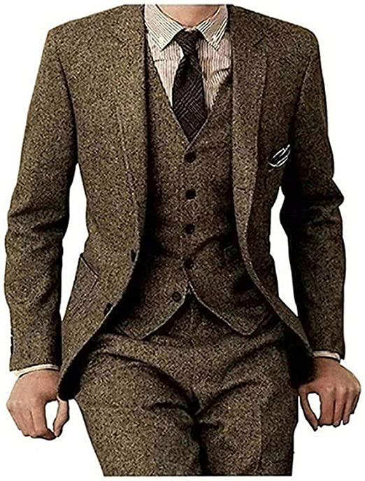 New Size Design Mens 3 Piece Classic Tweed Herringbone Check Tan Slim Fit Vintage Suit