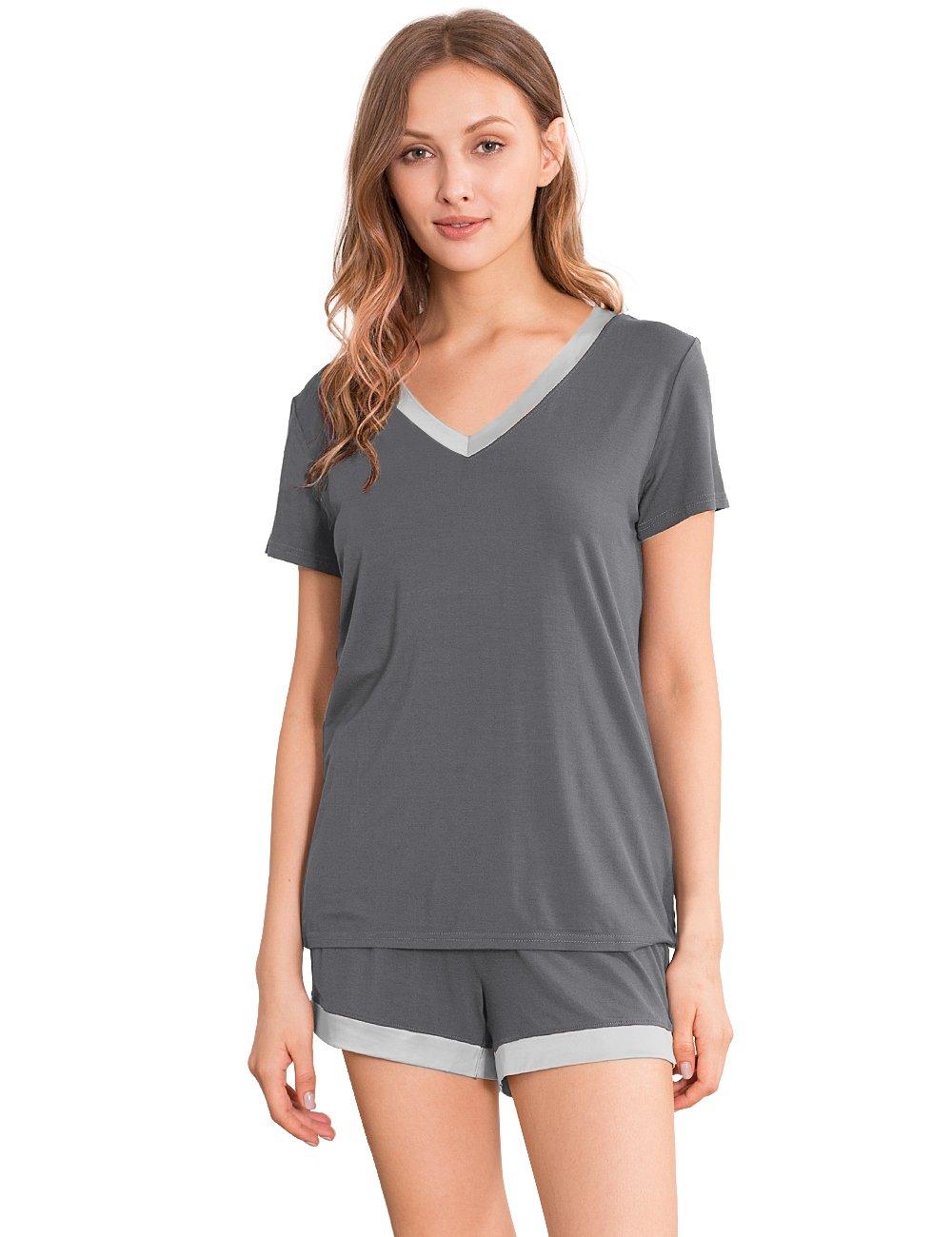 GYS Womens Soft V Neck Shorts Pajama Set (M,Gray With Silver Neck)