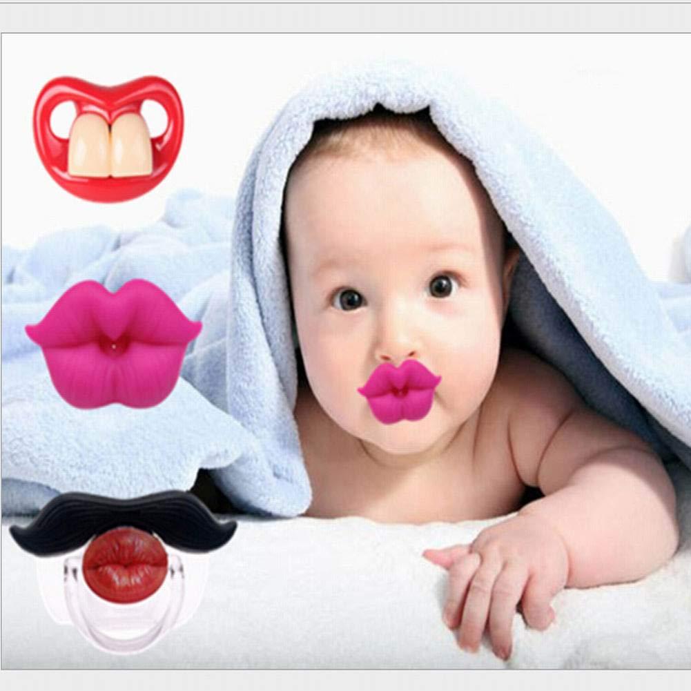 Delleu Divertidos chupetes Bigote bebé,Suave Silicona Lindo Chupete diseño