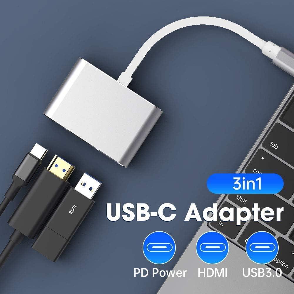 USB 3 en 1 USB C HUB Tec-Digi Cable Adaptador 3 en 1 USB Tipo C HUB a 1080P 4K HDMI