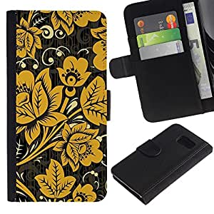 UberTech / Samsung Galaxy S6 SM-G920 / Flowers Yellow Gold Pattern White / Cuero PU Delgado caso Billetera cubierta Shell Armor Funda Case Cover Wallet Credit Card