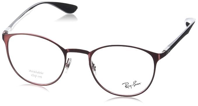 fadc4b5ac1 Amazon.com  Ray-Ban Unisex 0RX6355 50mm Brushed Bordeaux One Size ...