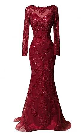 85262d840410 DKBridal Long Sleeves Evening Gowns Mermaid Long Applique Sheer Neck Prom  Dresses Burgundy 2