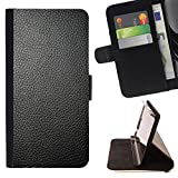 Momo Phone Case / Wallet Leather Case Cover With Card Slots - Black Shiny Tanned Leather Imitation - Samsung Galaxy S4 IV I9500