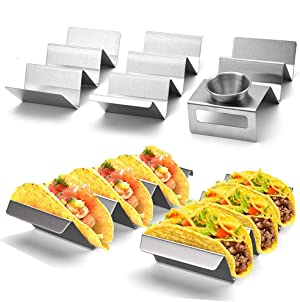 Taco Holders Stainless Steel,Taco Trays Taco Stand Up Holder Taco Stand Taco Plates with Easy-Access Handle, Oven, Grill, and Dishwasher Safe, Smooth Edge 3pcs