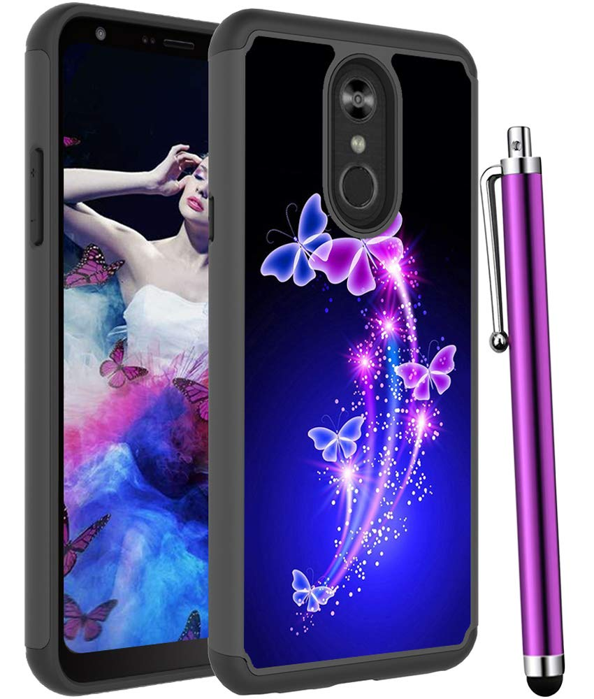 Voanice for LG Stylo 4 Case,LG Stylo 4 Plus Case, Shockproof Heavy Duty Hybrid Dual Layer Rugged Protective Hard PC&TPU Phone Armor Women Men Cover &Stylus for LG Stylo 4/LG Q Stylus -Purple Butterfly